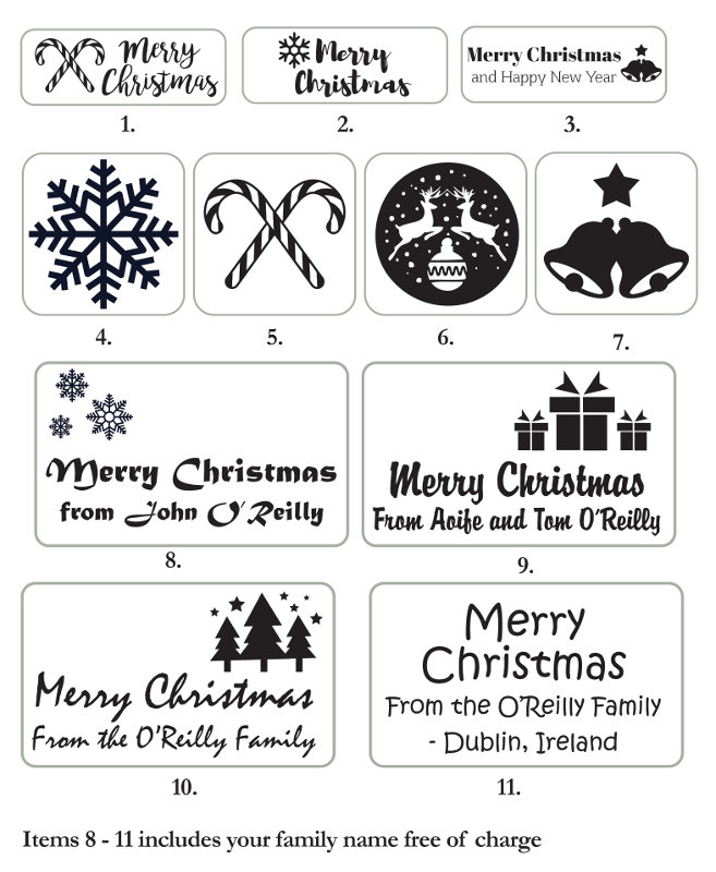 Merry Christmas Stamp (Red/Blue/Green or Black text)