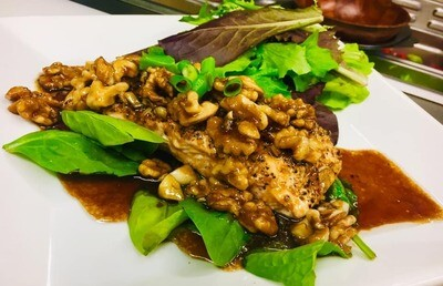 Grilled Salmon with Maple Walnut Topping
