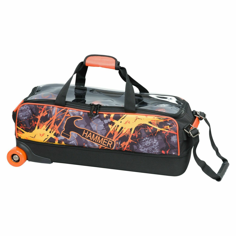 Hammer Orange Flame Dye Sublimated 3 Ball Tote Bowling Bag
