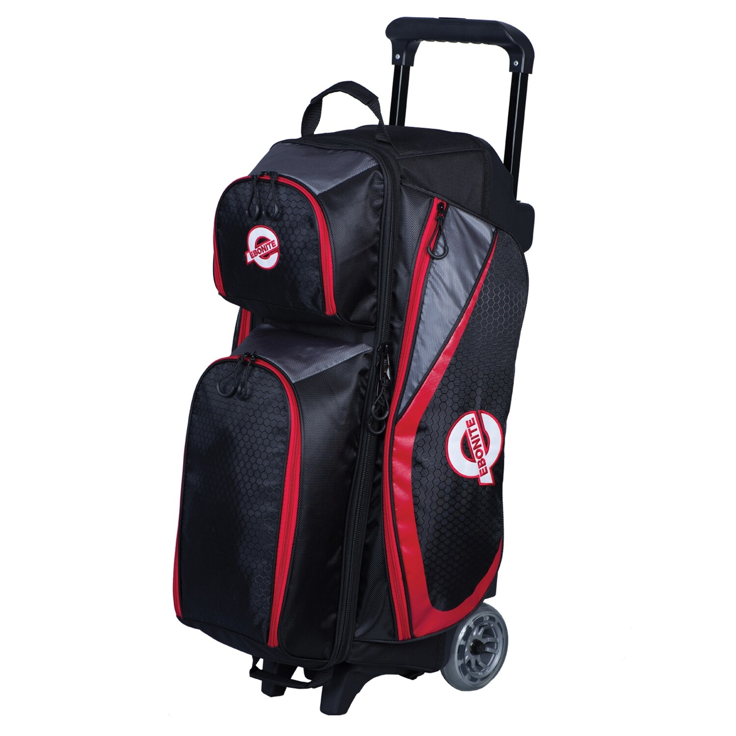 Ebonite Players Black/Red 3 Ball Roller Bowling Bag