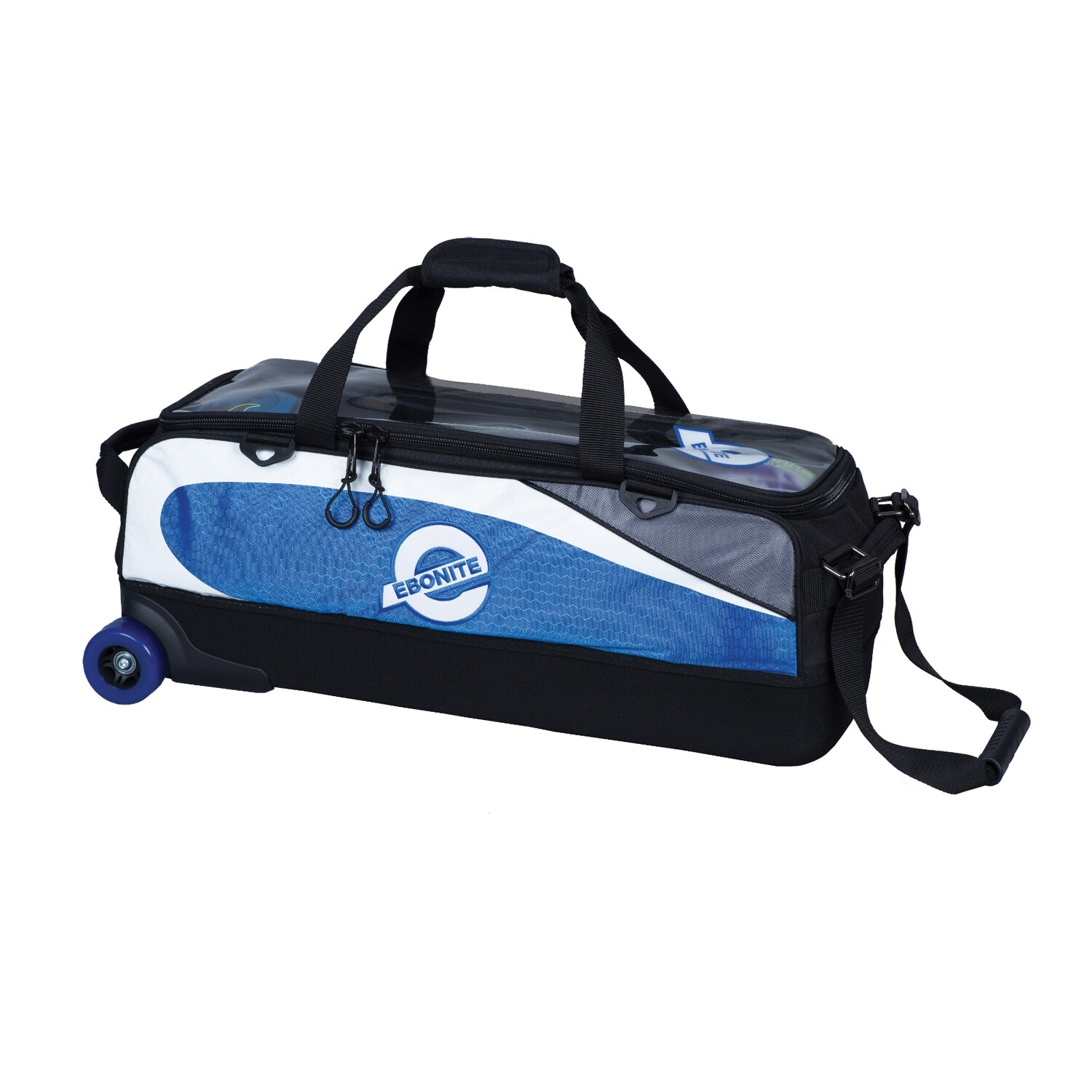 Ebonite Players Blue/White Slim Triple 3 Ball Tote Bowling Bag