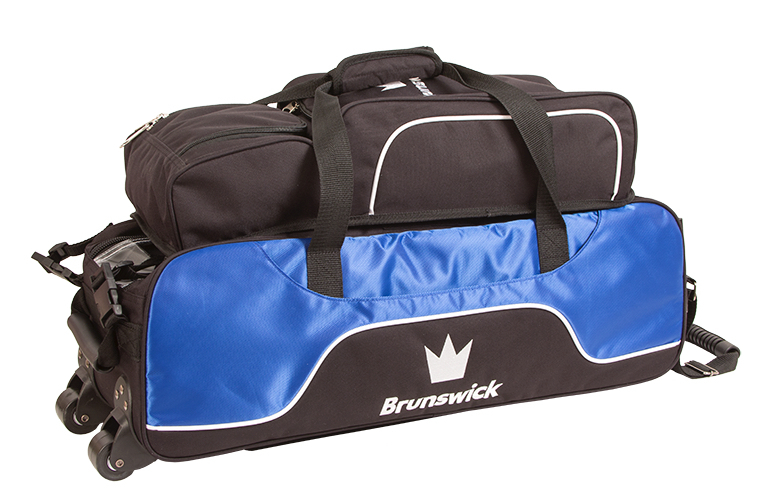 Brunswick Crown Black/Blue 3 Ball Tote With Shoe Bag
