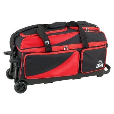 BSI Black/Red 3 Ball Roller Bowling Bag