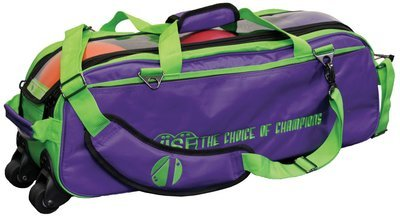 Vise 3 Ball Clear Top Tote Roller Purple/Green Bowling Bag