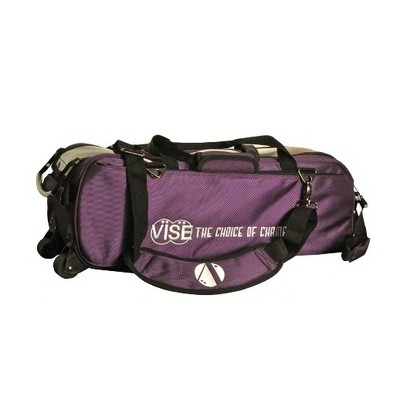 Vise 3 Ball Clear Top Tote Roller Purple Bowling Bag