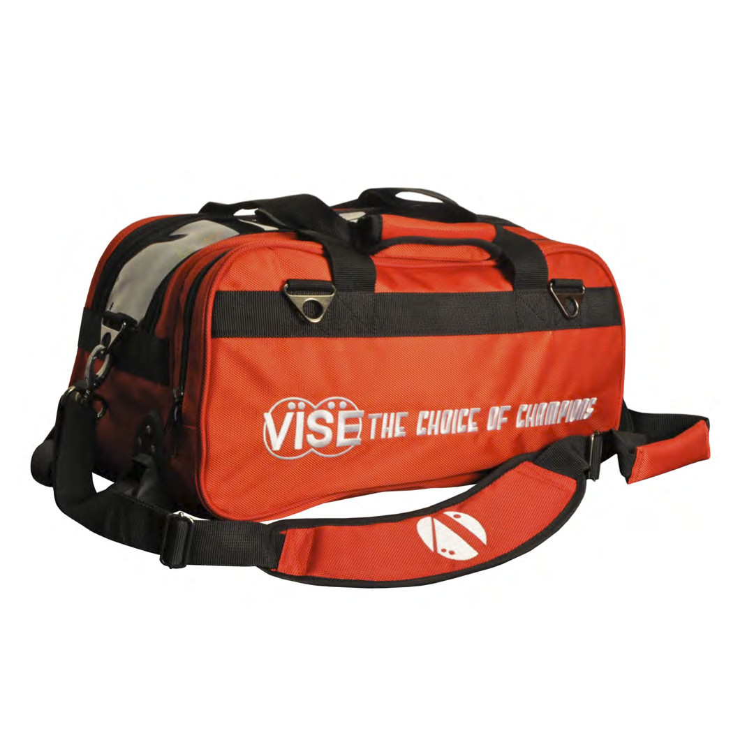 Vise 2 Ball Clear Top Roller Bowling Bag Red
