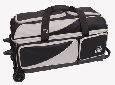 BSI Black/Grey 3 Ball Roller Bowling Bag