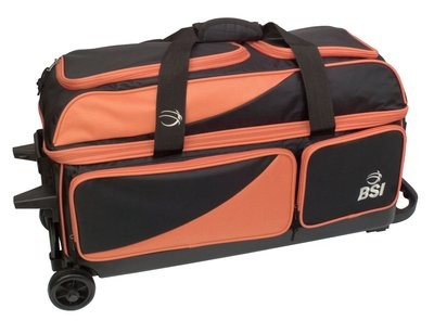 BSI Black/Orange 3 Ball Roller Bowling Bag