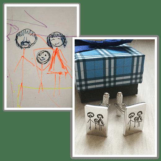 Запонки Geometric по рисунку/отпечатку