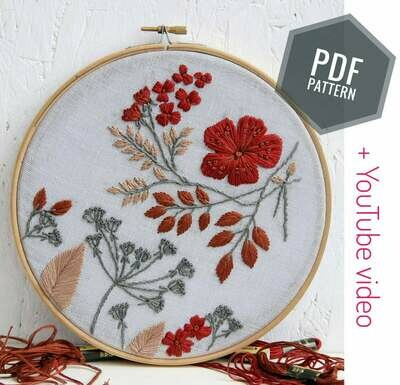 Embroidery pdf pattern+ video Autumn leaves