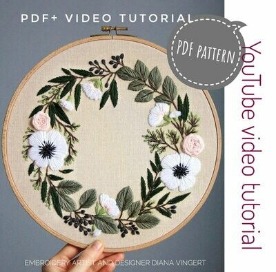 Pdf pattern+ video tutorial. Anemones and eucalyptus floral wreath