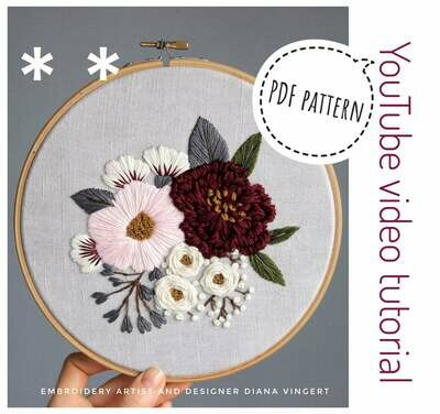 Pdf pattern+ video tutorial. Pink and burgundy peonies