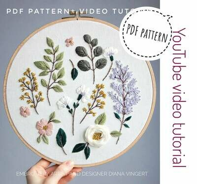 Pdf pattern+ video tutorial. Lilac and cherry blossom/ botanical elements