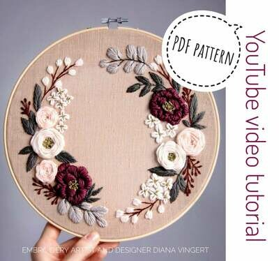Pdf pattern+ video tutorial. Spring honey floral wreath
