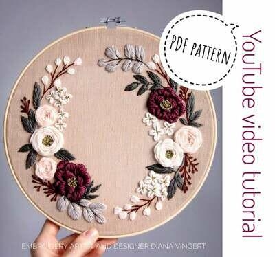 Pdf pattern+ video tutorial. Spring honey floral wreath
