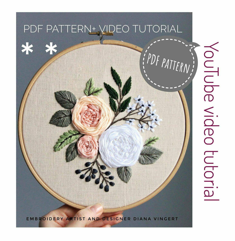 Pdf pattern+ video tutorial. Garden roses