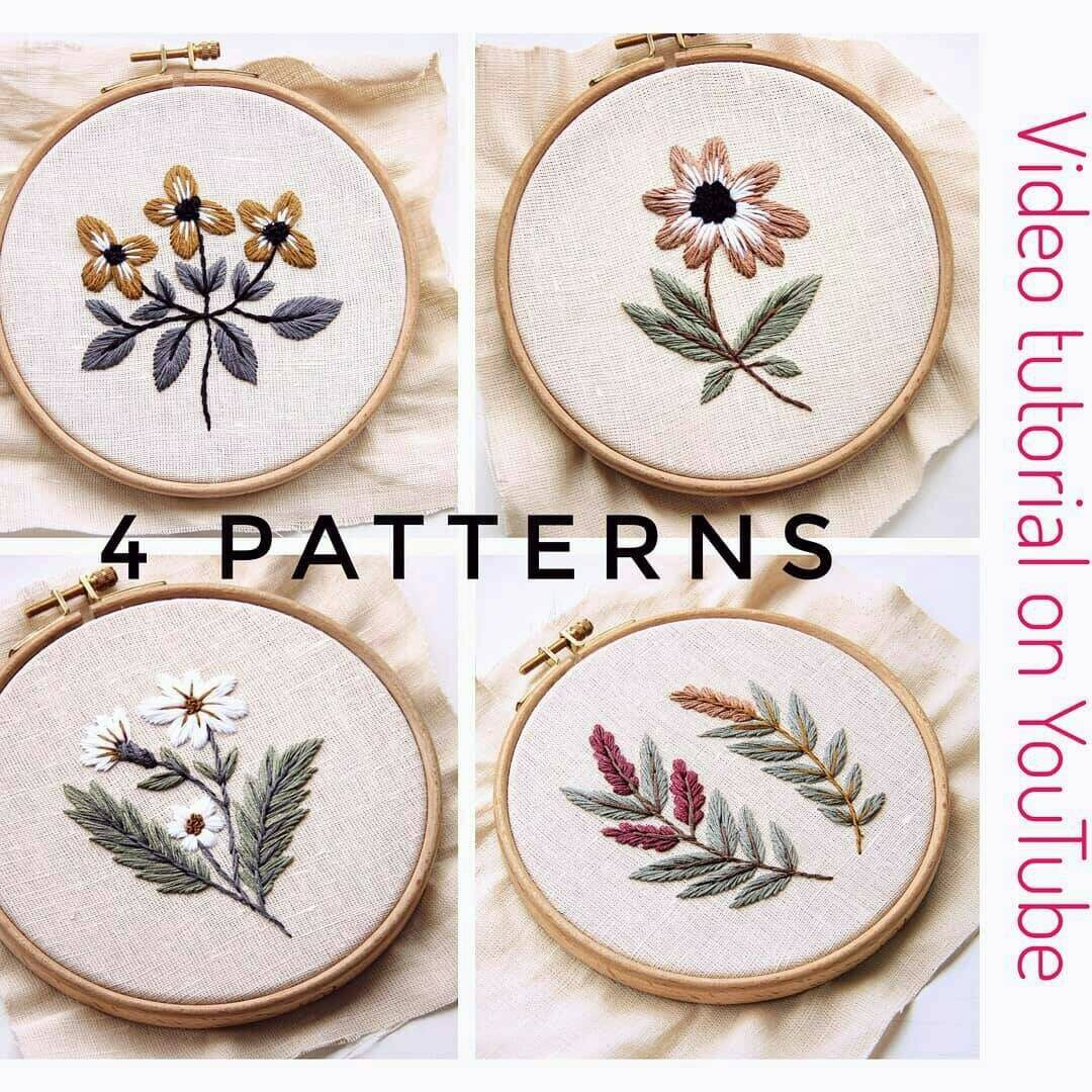 Embroidery for beginners pdf 4 pattern/ video tutorial