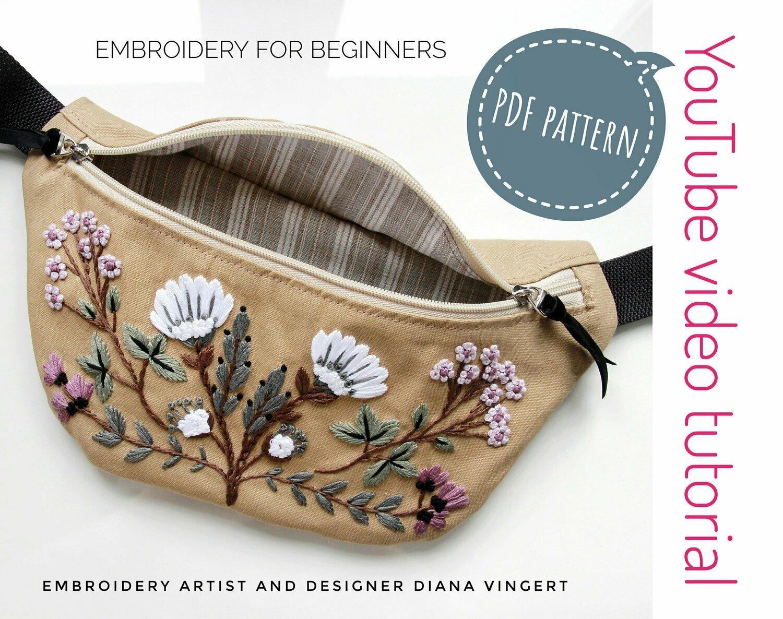 Waist bag  pdf pattern+ video. Digital Download