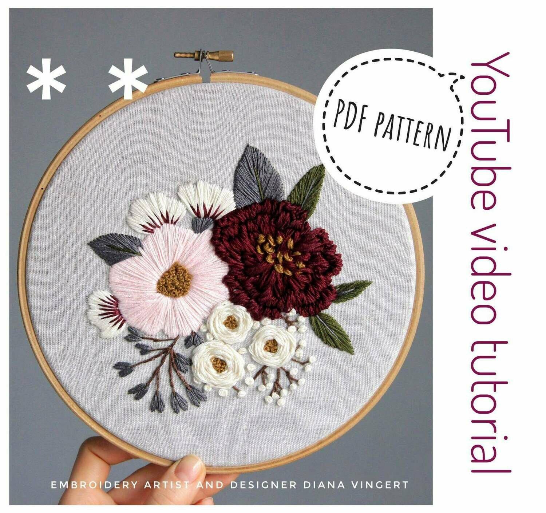 Pdf pattern+ video tutorial. Pink and burgundy peonies