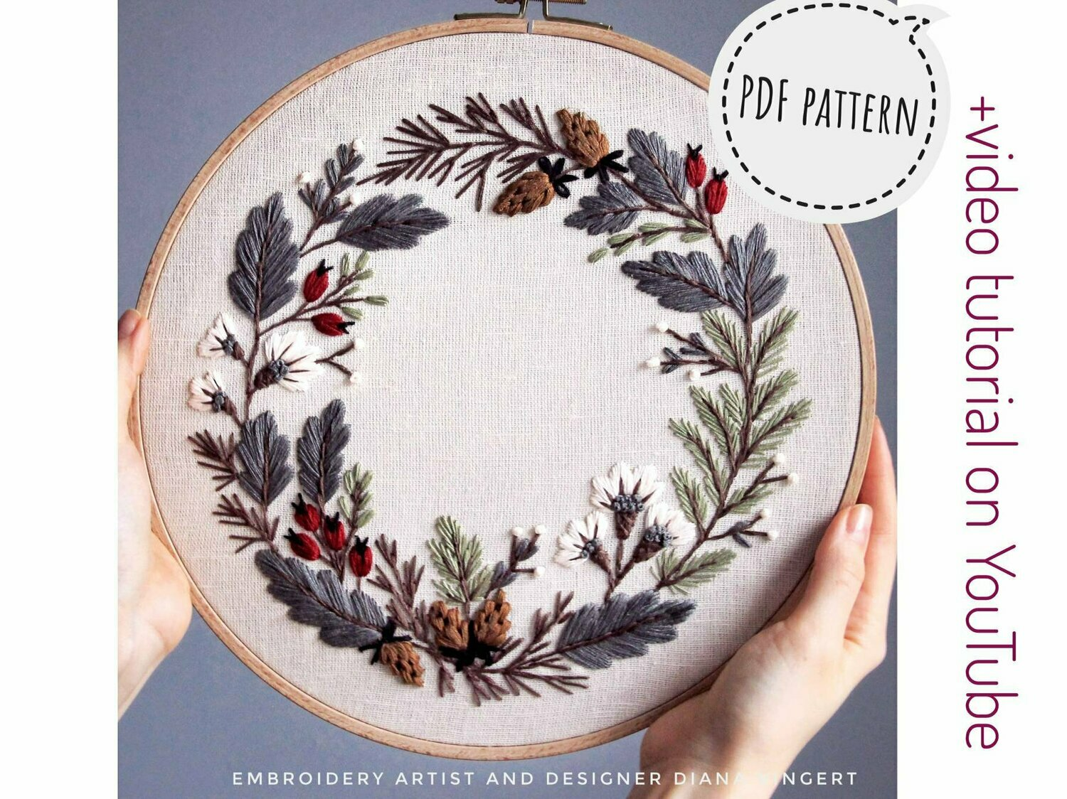 Pdf pattern+ video tutorial.  Floral wreath