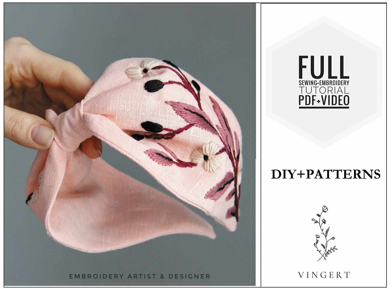 Embroidery pdf +video pattern Pink headband