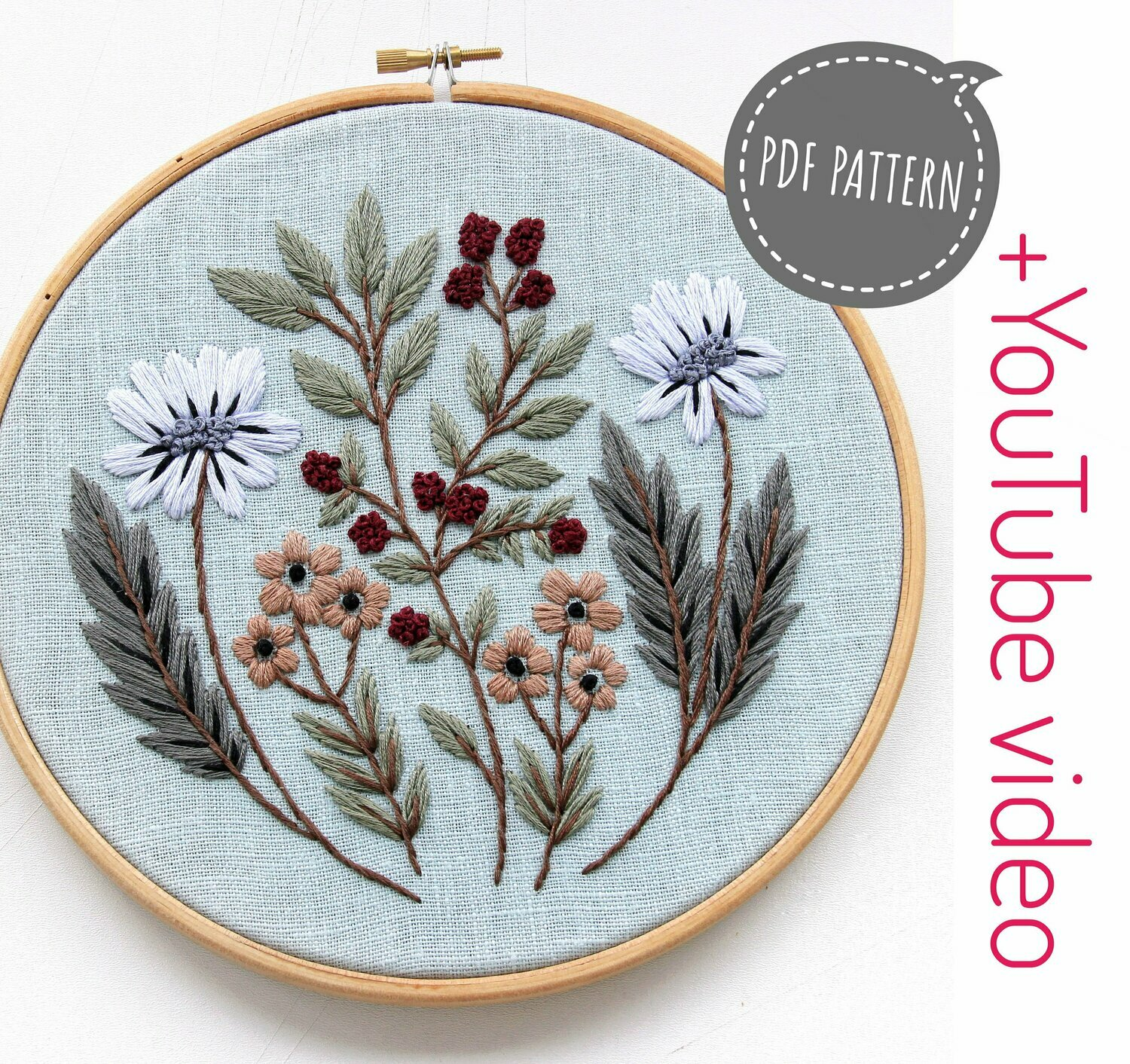 Embroidery for beginners pdf pattern+ video. Blue wild flowers