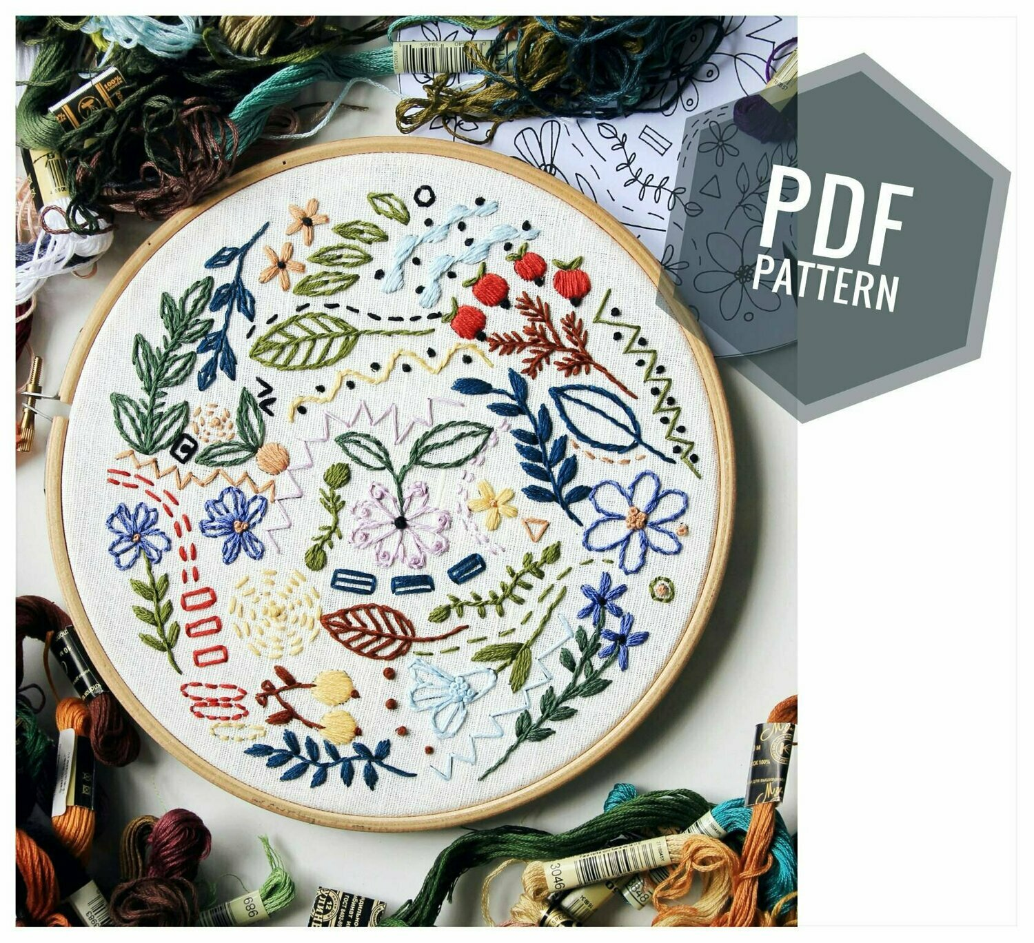 Embroidery pdf pattern Fruits garden doodling (only pattern)
