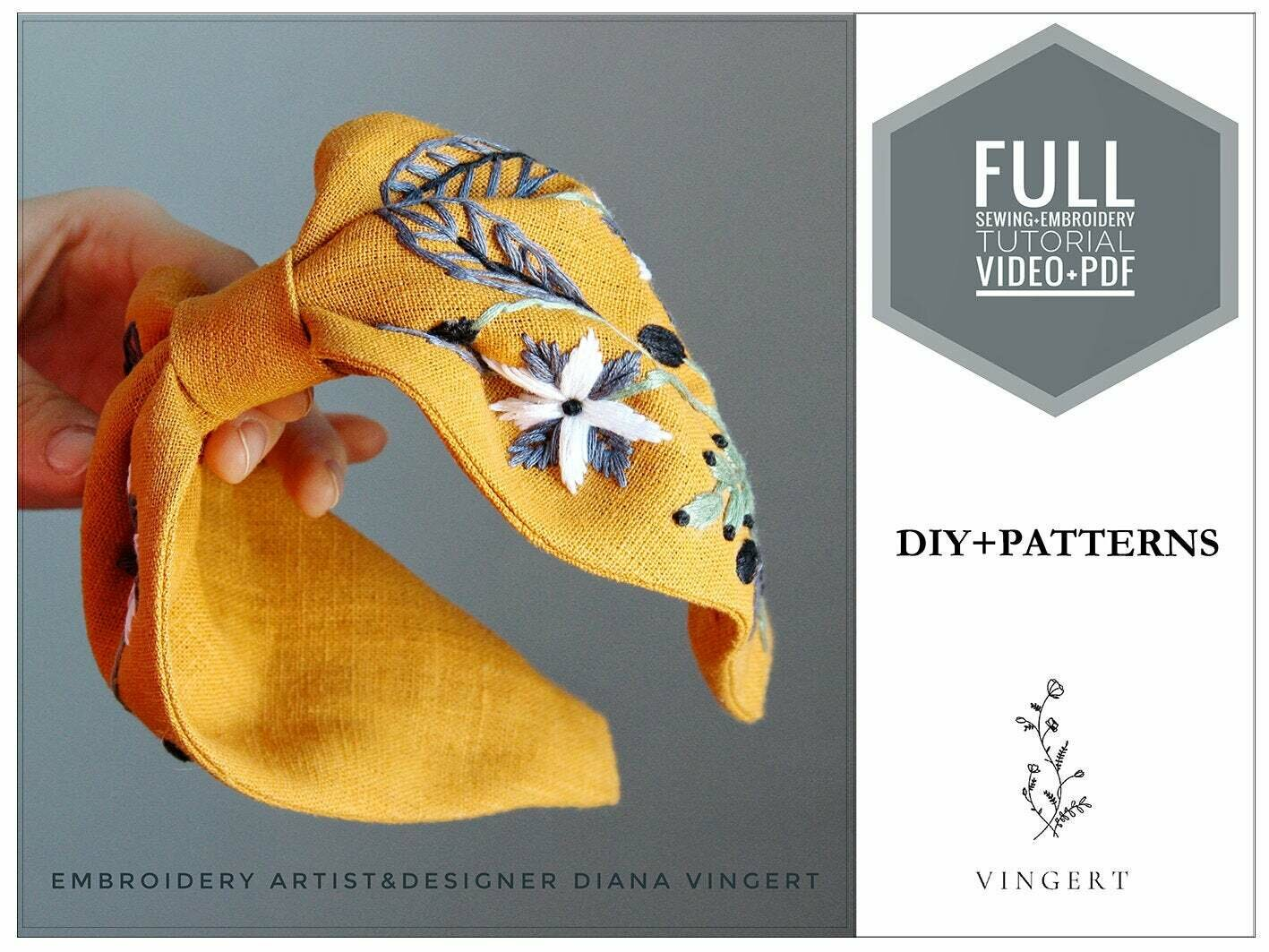 Embroidery pdf +video pattern Yellow headband