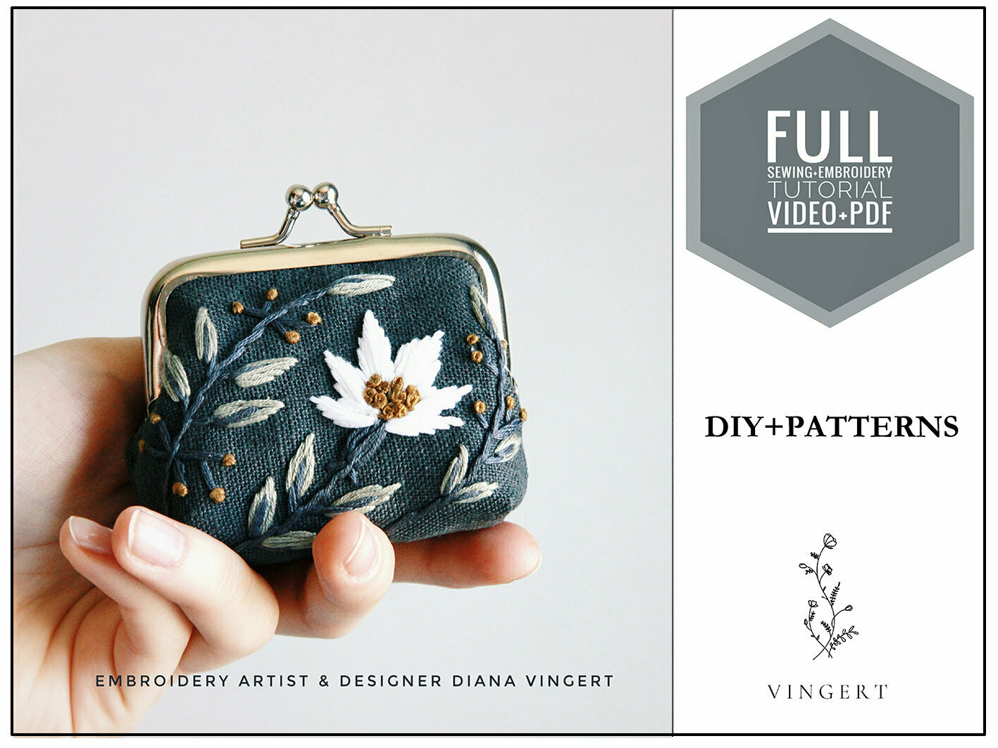 Embroidery pdf +video diy pattern Gray pouch