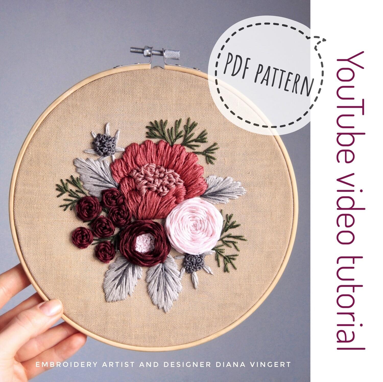 Pdf pattern+ video tutorial. Raspberries and Thistles