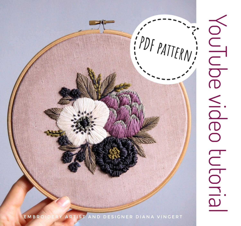 Pdf pattern+ video tutorial. Anemone and Artichoke