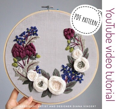 Pdf pattern+ video tutorial. Artichokes and white roses wreath