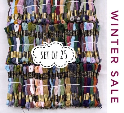 Set of 25 embroidery floss skeins 100% cotton/