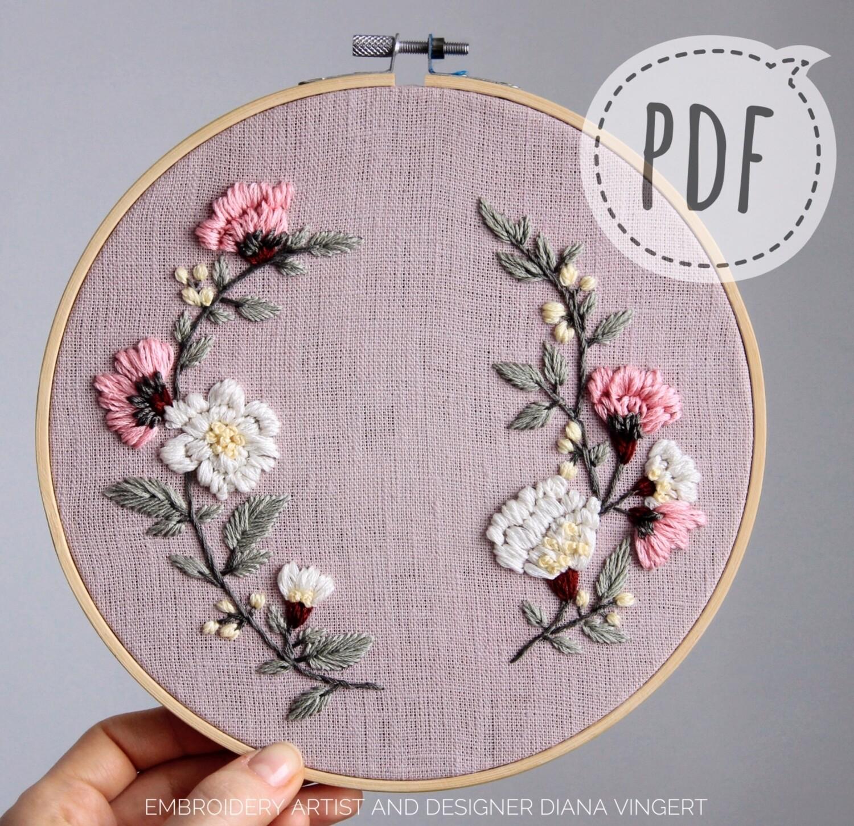 Pdf pattern. Pattern 2502 White, pink roses
