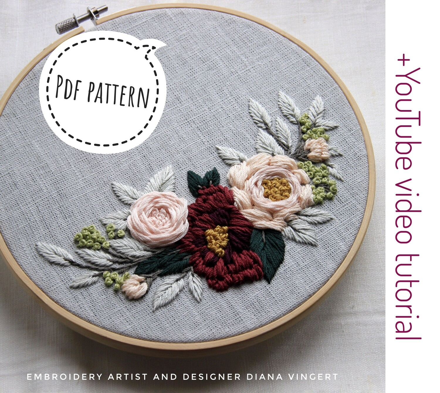 Pdf pattern+ video tutorial. Garden roses and burgundy dahlia