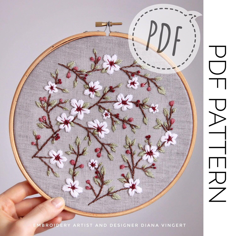 """Pdf pattern. Pattern """"Sakura blossom"""""""