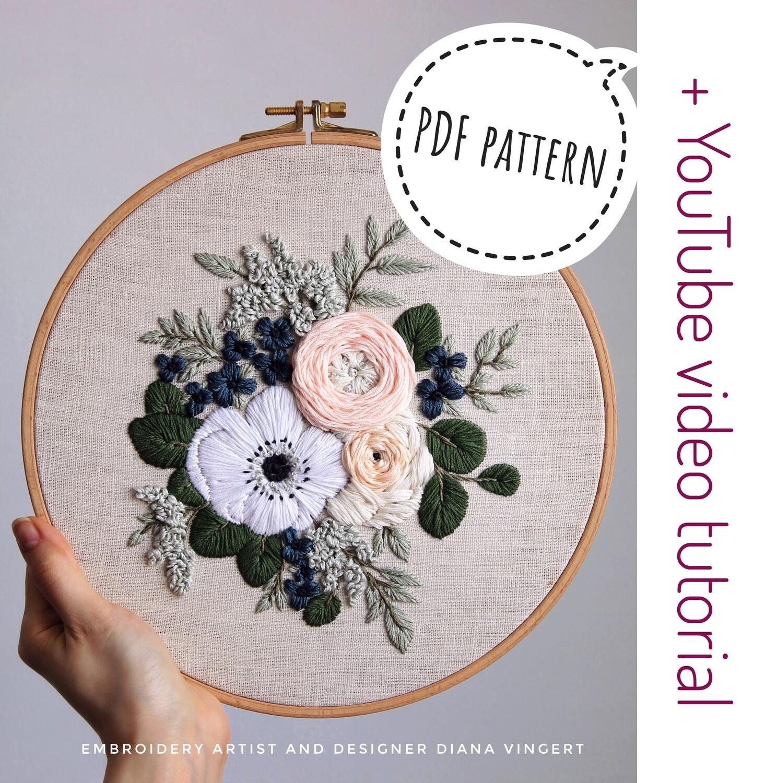 Pdf pattern+ video tutorial. Anemone and Ranunculus bouquet. Level: intermediate