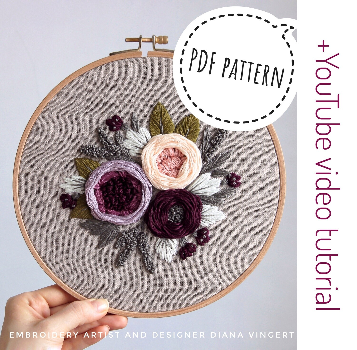 Pdf pattern+ video tutorial. Purple and soft peach peonies