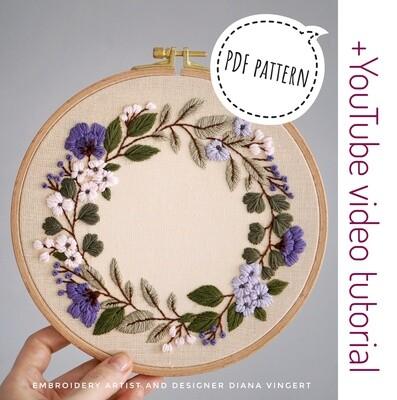 Pdf pattern+ video tutorial. Lilac wreath