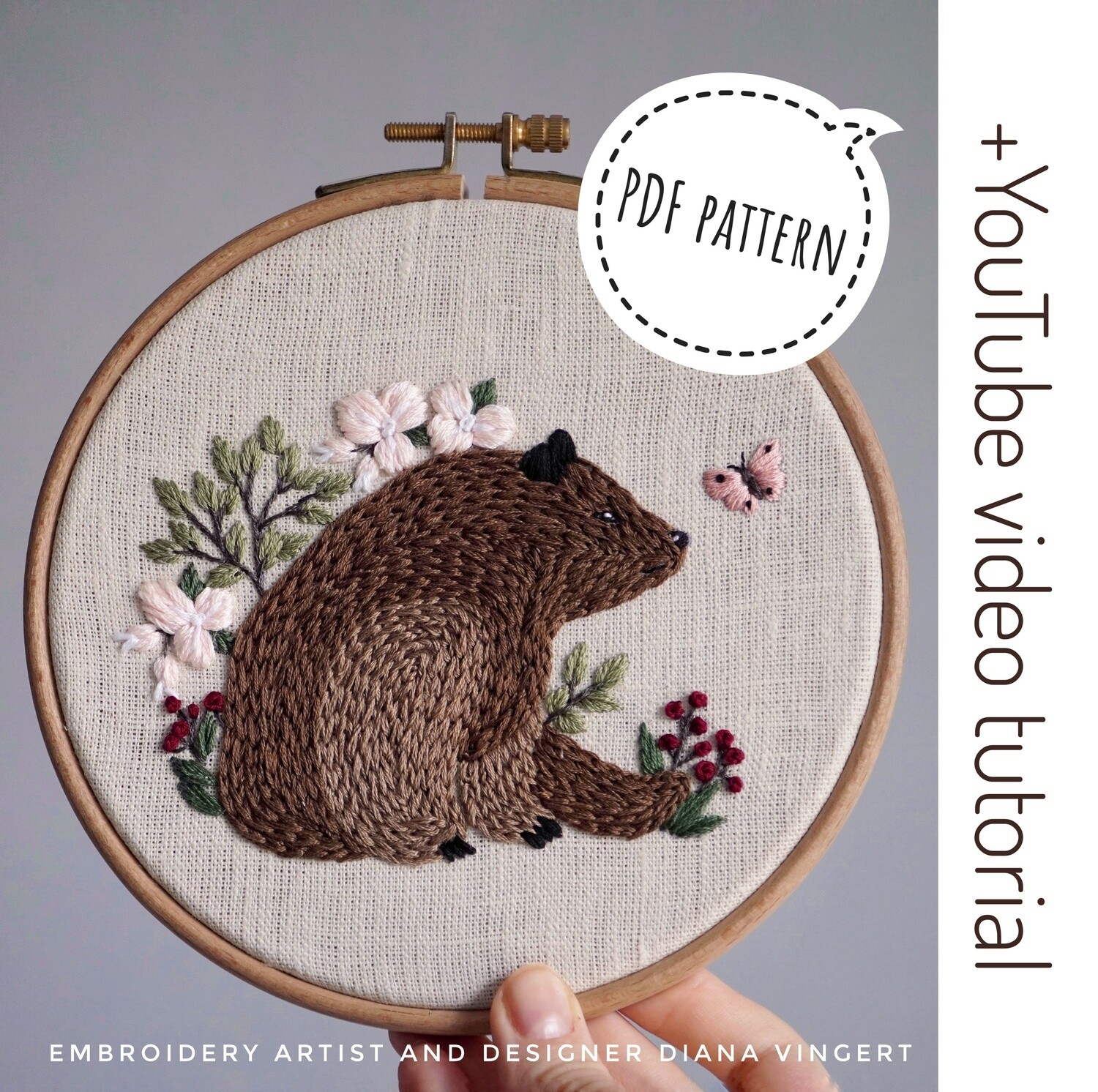 """Pdf pattern+ video tutorial. """"Bear and butterfly"""""""