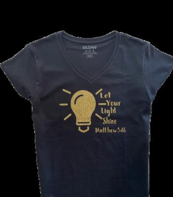 Let Your Light Shine Glitter Gold Ladies T-Shirt