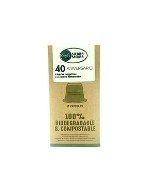 Cápsulas Café 40 Aniversario Sierra de Segura - Compatible Nespresso 10und