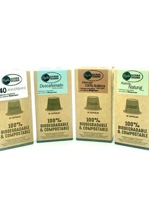 Lote Cápsulas Café Natural + Arábica + 40 Aniversario + Descafeinado Sierra de Segura - Compatible Nespresso 10und