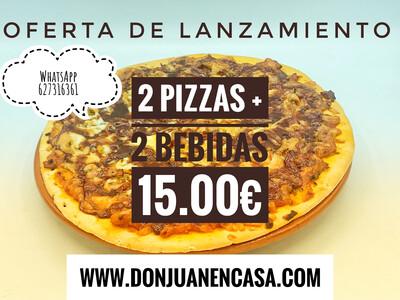 OFERTA 2 PIZZAS + 2 BEBIDAS 15.00€