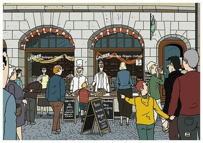 Set de 18 cartes postales Quels commerces