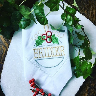 Ornament with Holly Linens