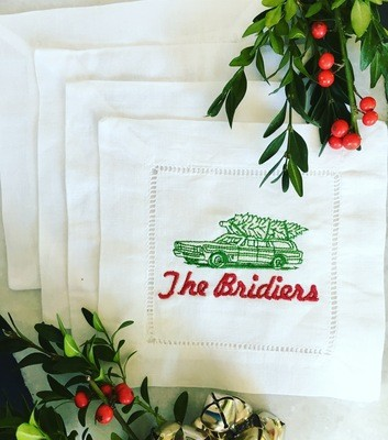 Cocktail Napkins - Vintage Station Wagon with Tree