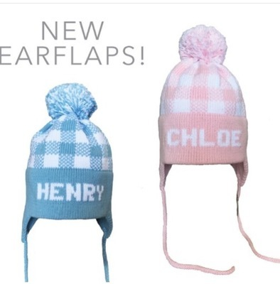 Knit Hat - Pink or Blue Plaid