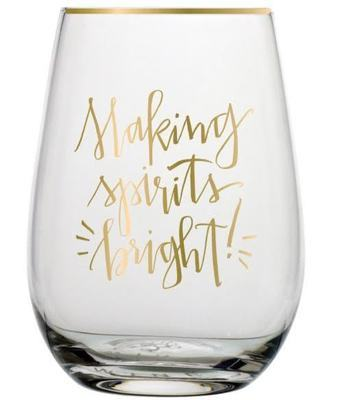 Holiday Stemless Wine Glass