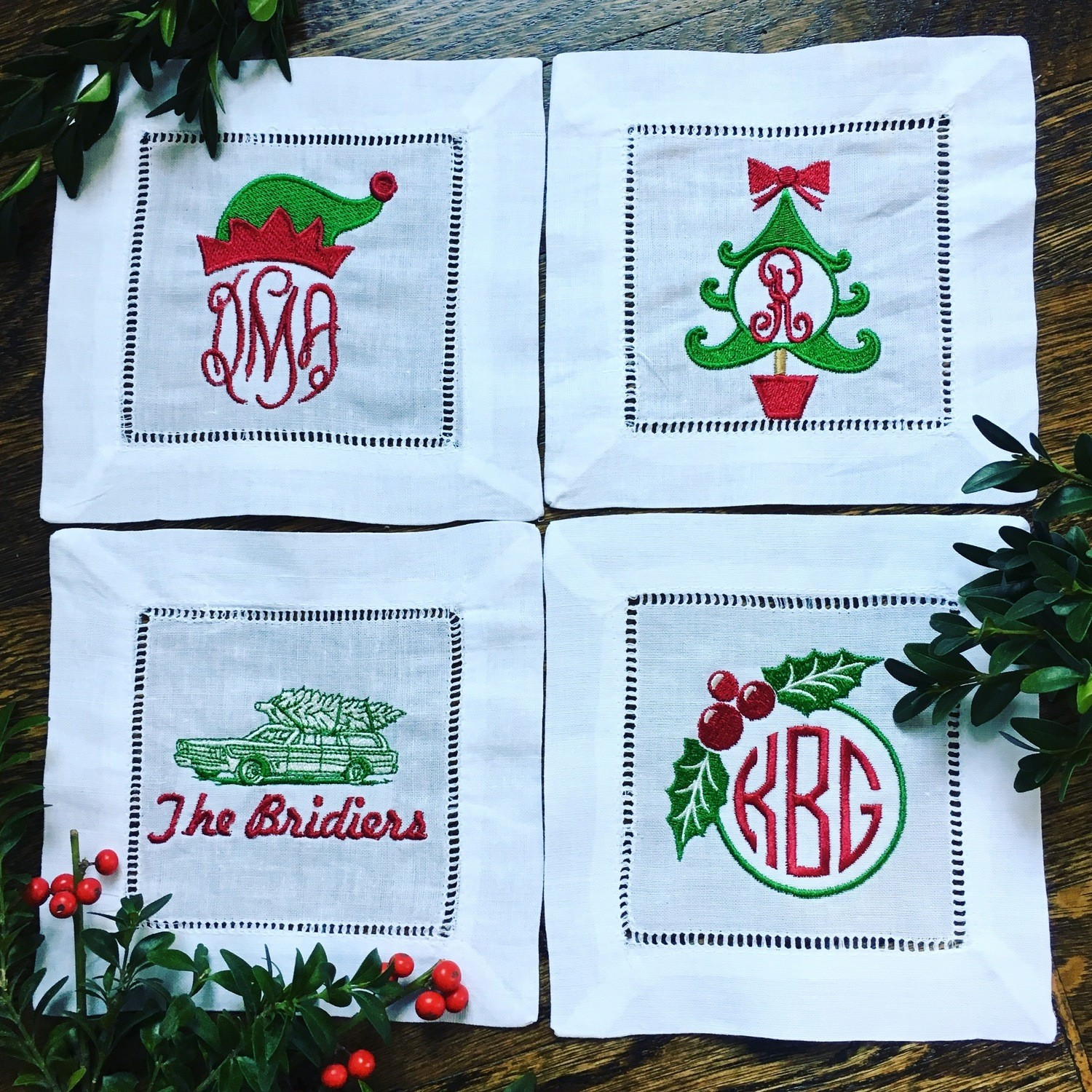"""""""A Very Monogrammed Christmas"""" Set of Cocktail Napkins"""